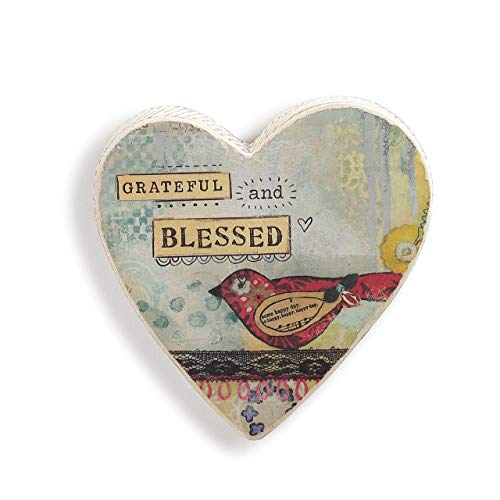DEMDACO Grateful and Blessed Light Blue 5 x 5 Paper Pulp Decorative Wall Heart Plaque