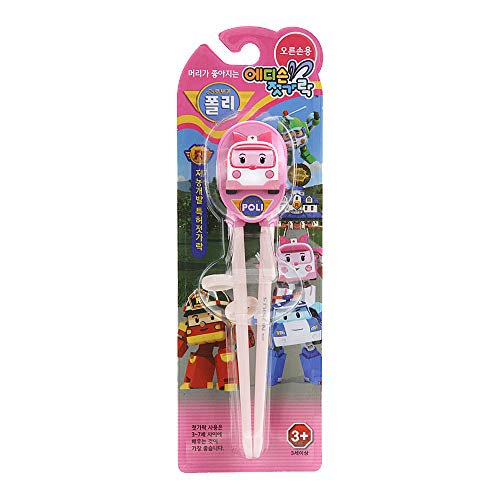 (Edison Training Chopsticks for Right Handed Children Robocar Amber Character, Pink)