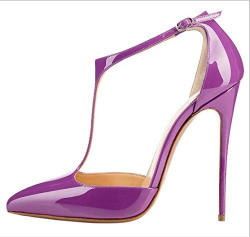 y Altos Mujer T Shoes fashion Ruanlei elegante alta de Heel Sexy purple Tacones versátil Charol Tacones Altos Clásicas mujer de ElegantesSugerencia de Cerrado Tacones wqaAztq