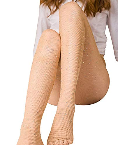 Women's High Waist Fishnet Stockings Sparkle Rhinestone Tights of MERYLURE (One Size, White Rhinestones-nude)