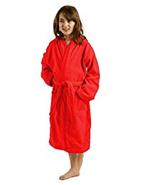 Unisex Terry Cloth Hooded Robe for Girl and Boy, 100% Cotton Kids Bathrobe