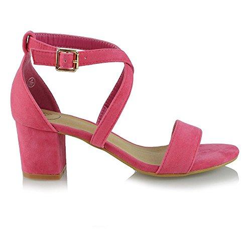 Essex Glam Donna Low Heels Con Cinturino Alla Caviglia Con Cinturino Alla Caviglia E Sandali Da Sera In Camoscio