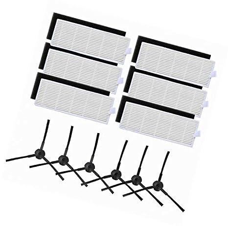 LanLan filtros Derechos para aspiradora iLife A6 A4 A4S 3 Filtro HEPA y 4 cepillos Laterales para Piezas de Robot Aspirador: Amazon.es: Hogar