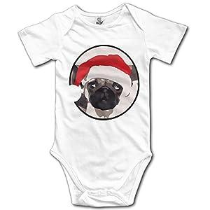 Cute Christmas Pug Head Portrait Cotton Infant Baby Onesie Bodysuit