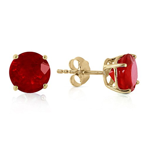 Galaxy Gold 14k Solid Yellow Gold Ruby Stud Earrings with 3.5 carats Natural Genuine Ruby ()