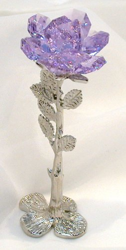 Bjcrystalgifts Standing Purple Rose Handcrafted By the Artisans At Using Swarovski Crystal -
