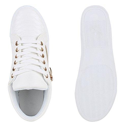 2cc373282d468e ... Damen Sneakers Metallic Sneaker Low Zipper Glitzer Schuhe Lack Animal  Print Turnschuhe Sportschuhe Leder-Optik