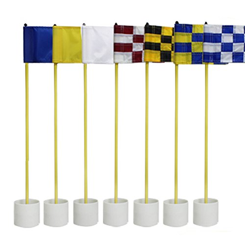 CRESTGOLF 3Sets Backyard Practice Golf Hole Pole Cup Flag Stick, 3 Section,Golf Putting Green Flagstick (randomly send mixed (Practice Green Flag)