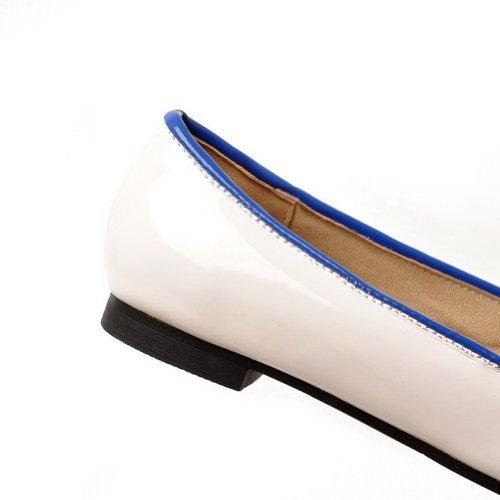 Geschlossene mit Niedriger Blau Bowknot Pumps runde Absatz PU Weiches Zehe VogueZone009 Material Damen Feste UPqI5