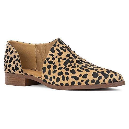 RF ROOM OF FASHION Women's Open Shank Almond Toe Slip On Loafers Ankle Booties TAN Leopard Size.7