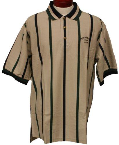 (Monterey Club Mens Short Sleeve Vertical Stripe Jersey Shirt #3074 (Stone/Evergreen,X-Large))