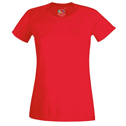 Fruit of the loom lady-fit t-shirt performance cOLOUR rouge taille xS