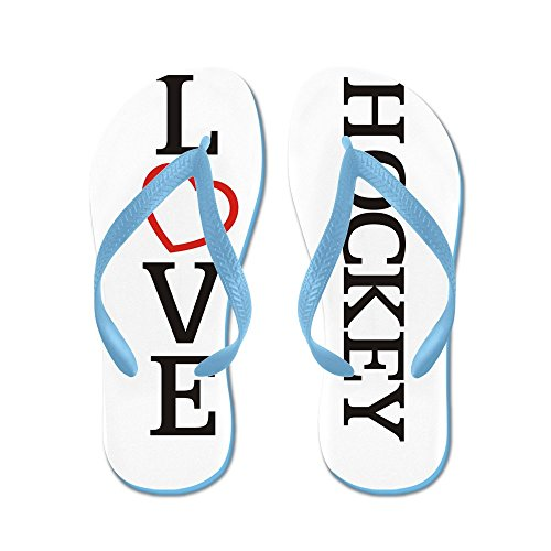 Cafepress Stora Kärlek Hockey - Flip Flops, Roliga Rem Sandaler, Strand Sandaler Caribbean Blue