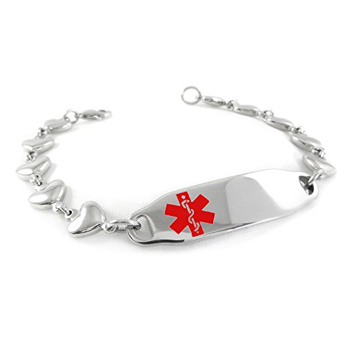 My Identity Doctor - Pre-Engraved & Customized Women's DNR Medical Alert ID Bracelet, Heart Chain Red ()