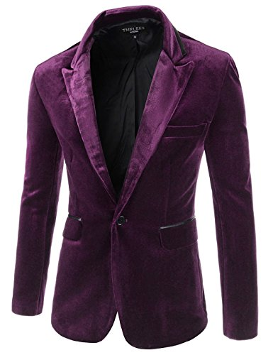 Showblanc (SBJKV01) Male Slender Fit Lapel Color Point 1 Button Velvet Blazer PURPLE Large(Chest 38)