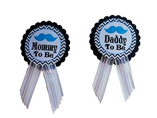 Mommy Pin - Little Man Mommy & Daddy to Be Pin Mustache Baby Shower Blue & Black It's a Boy, Baby Sprinkle Gender Reveal