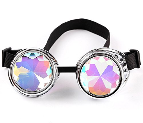 Lelinta Steampunk Rave Glasses Goggles with Rainbow Crystal Glass -