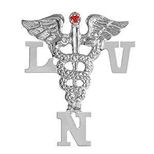 NursingPin Licensed Vocational Nurse LVN Nursing Pin with Ruby in Silver
