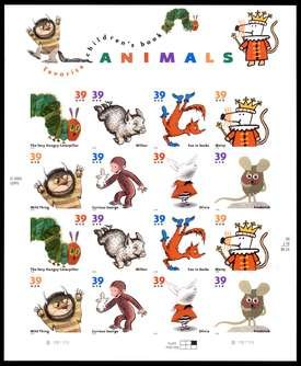 Favorite Children's Book Animals, Full Sheet of 16 x 39-Cent Postage Stamps, USA 2005, Scott (2005 Postage Stamps)
