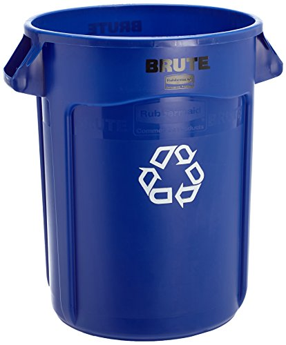 Facility Waste Receptacles - Rubbermaid Commercial Products FG263273BLUE Brute Recycling Container with Venting Channels, 32 gal, Blue