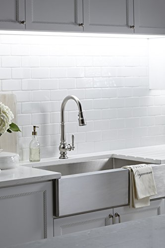 Kohler K-99259-VS Artifacts Single-Hole Kitchen Sink Faucet with 17-5/8-Inch Pull-Down Spout, 3-Function Sprayhead, and Turned Lever Handle, Vibrant Stainless by Kohler (Image #2)