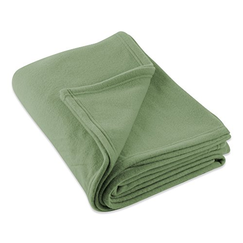(J&M Home Fashions Luxury Solid Twin/Twin XL Fleece Blanket or Throw (60x96 - Olive Green) Ultra Soft, Cozy, Warm for Bed, Couch, Sofa, Camping, Beach)