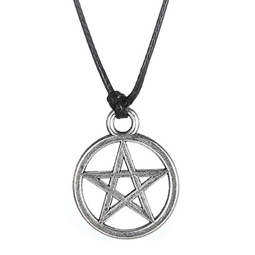 AOBILE(TM) Retro Black cord choker necklaces with Silver plated Pentagram charm , with an extension chain to adjust the size