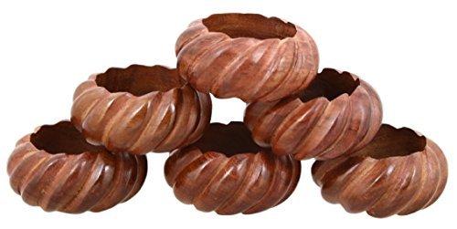 Shalinindia Handmade Wedding Party Decorations Wood Napkin Rings Set of 6 for Dinner Ideas