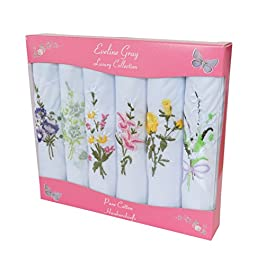 6 Ladies Coloured And White Boxed Embroidered Handkerchiefs 100% cotton, 12ins / 30cm, White with floral design