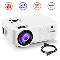 Nyork Mini Projector, [2019 Upgraded] Portable Video Projector, 4200 Lumen Movie Projector 200 Display, Full HD 1080P Supported, 55,000 Hours Lamp Life, Compatible with Fire TV Stick,HDMI,VGA,AV,USB