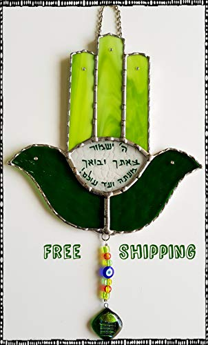 Beautiful HAMSA Stained Glass,Free Shipping,Green,With 5 Swarovski Stones On Each Finger,HANDCRAFTED,Judaica,Wall Hanging,High Quality Finish