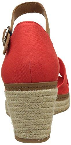 Tommy Hilfiger E1285lba 40d, Sandalias con Cuña para Mujer Rojo (Fiery Red 617)