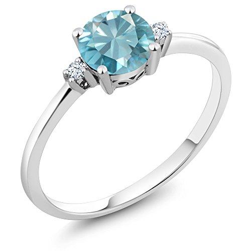 10K White Gold 1.23 Ct Round Blue Natural Zircon White Created Sapphire Ring
