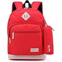62f1202c51 Kids Waterproof Backpack for Elementary or Middle School Boys and Girls ( Dark Red with Pencil