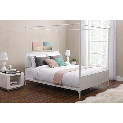DHP Canopy Full White Metal Bed Contemporary Modern Design