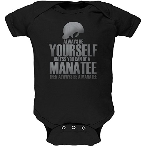 Always Be Yourself Manatee Black Soft Baby One Piece - 3 month by Animal World