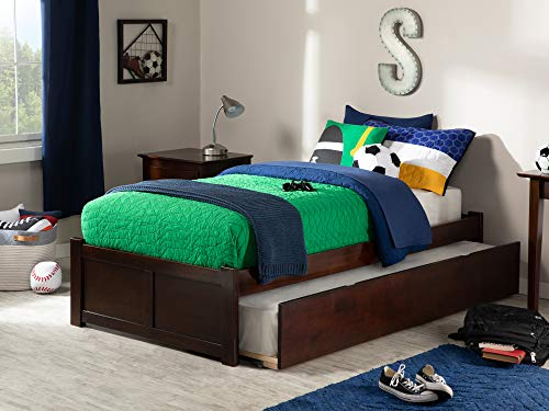 Atlantic Furniture Concord Platform Flat Panel Foot Board and Twin Size Urban Trundle Bed, Walnut