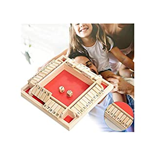 Shut The Box Yocartgo Dice Game,Traditional Four Sided Wooden 10 Number Pub Bar Board Dice,Wooden Board Math Games for Shut The Box(B)