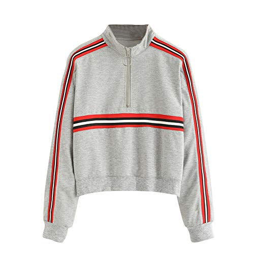 LandFox Long Sleeve Sweatshirt,Shirt Casual Women Blouse Jumper Pullover Strapless Blouse Gray