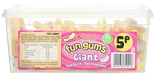 Swizzels Fun Gums Giant Teeth n Toothbrush 120 Count