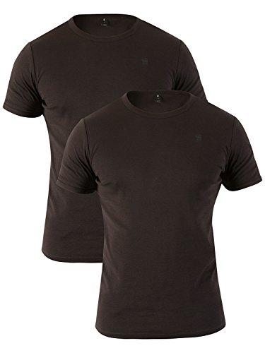 G-Star Men's 2 Pack Slim Crew T-Shirts, Black, Small