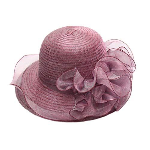 Pengy Women's Organza Church Kentucky Derby Bridal Tea Party Wedding Hat Cloche Hats Royal Purple