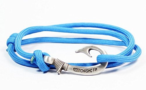 Chasing Fin Adjustable Bracelet 550 Military Paracord with Fish Hook Pendant, Colonial