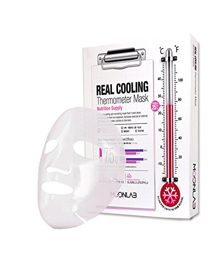 [MOONLAB] REAL COOLING Thermometer Sheet Mask Nutrition Supply - Ultra Cooling on the Skin, Relieves Overheated and Tired Skin, Bio-Cellulose Sheet, 25ml Pack of 4pcs