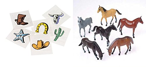 Cowboy Toy Party Favor Supplies 156 Piece Set for 12 Bundle Horse Figures Temporary -