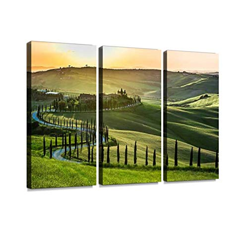 Sunset Over The Winding Road with Cypresses in Tuscany Print On Canvas Wall Artwork Modern Photography Home Decor Unique Pattern Stretched and Framed 3 Piece
