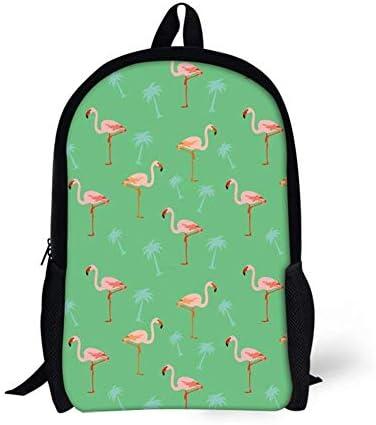 NA Bass Rucksack für Kinder, Mädchen, Fischmuster, Pink Flamingo Grün