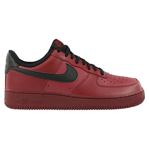 Nike Mens Air Force 1 07 Team Red Black Leather Trainers 12 US (Mens Sneaker Black Red Team)