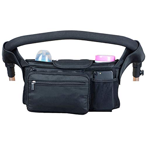 Universal Baby Stroller Organizer Bag with Insulated Cup Holders Detachable Shoulder Strap Wipes Pocket, Extra Storage Diaper Mesh Bag, Easy Installation, Fit Most Pram