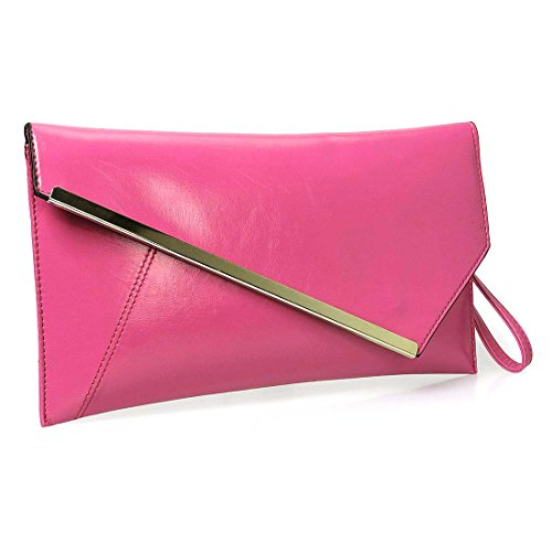 BMC Fashionably Chic Hot Pink Faux Leather Gold Metal Accent Envelope Style Statement Clutch